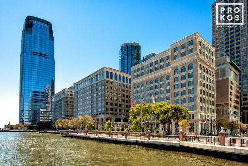 A waterfront view of Exchange Place in Jersey City, New Jersey