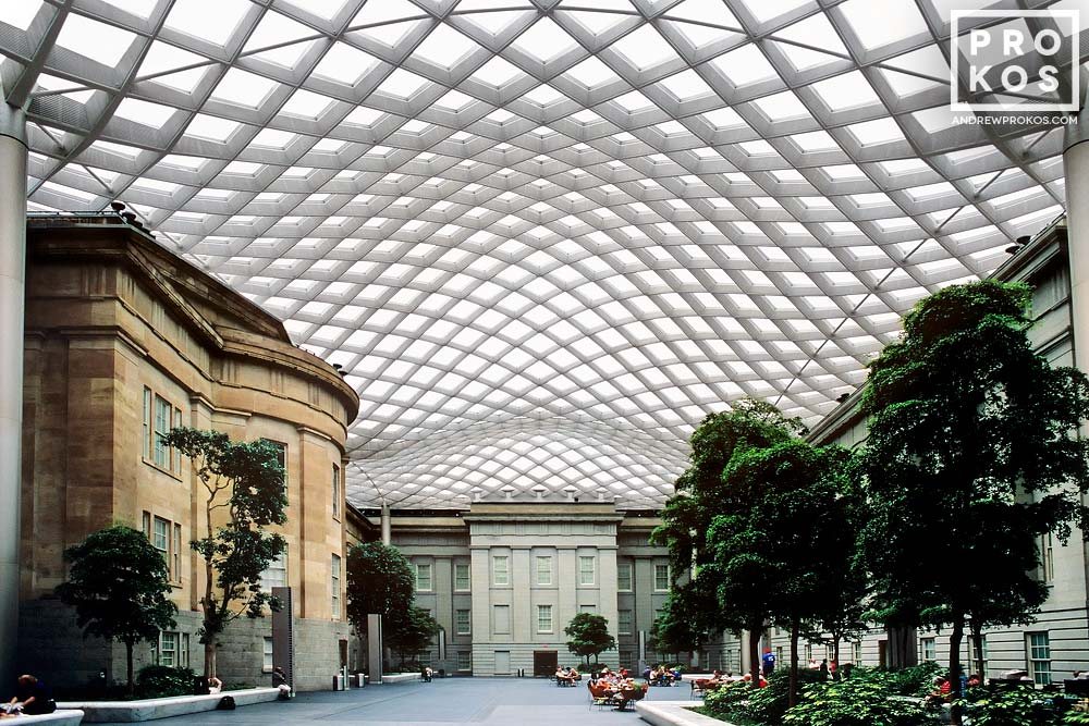 Interior of Kogod Courtyard, with its undulating glass and steel canopy. National Portrait Gallery, Washington DC