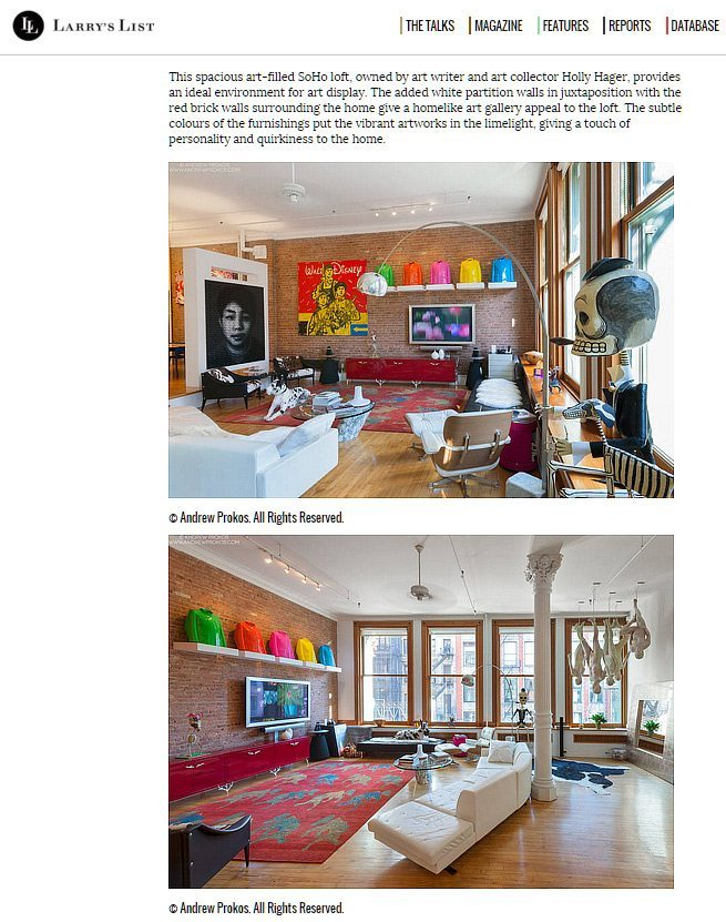 Larry's List publishes Andrew's photos in an article on art collectors' lofts