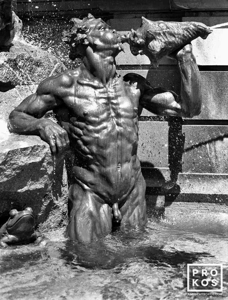 A detail from the Library of Congress's Neptune Fountain in black and white, Washington D.C.