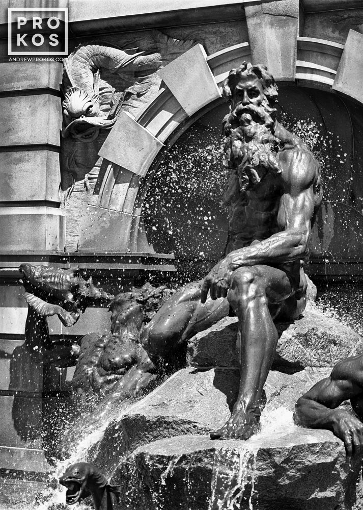 A view of the Library of Congress's Neptune Fountain in black and white, Washington D.C.