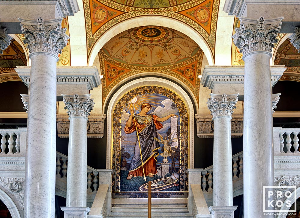 A decorative mosaic graces the Great Hall of the Library of Congress, Washington D.C.
