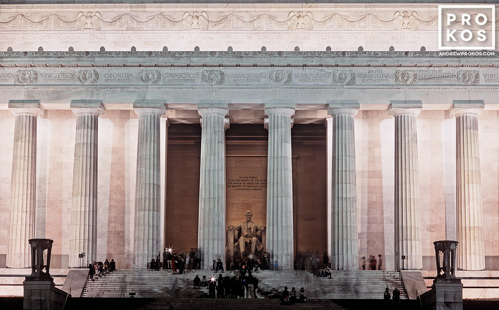 A long-exposure view of the Lincoln Memorial at night, Washington DC