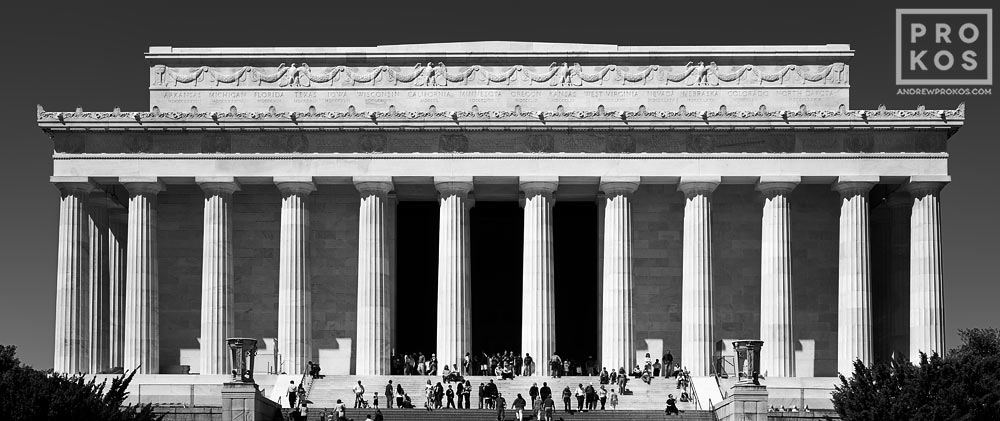 A black and white panorama of the Lincoln Memorial's exterior, Washington DC