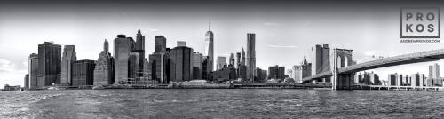 LOWER MANHATTAN BRIDGE PANORAMIC VIEW BW  PX