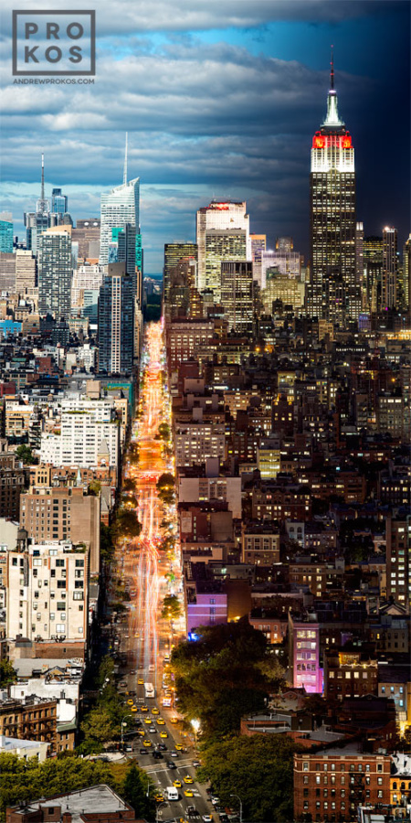 """A vertical panoramic cityscape of Manhattan, NYC from Andrew's award-winning Night & Day series. Limited edition fine art prints of this photo are available in sizes up to 120""""in height."""