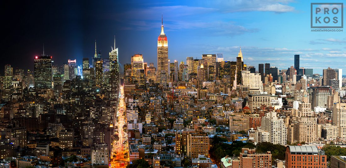 A panoramic cityscape of Manhattan, NYC from Andrew's Night & Day series.