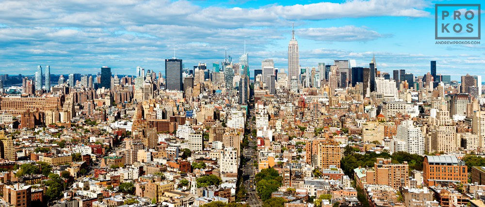 A panoramic cityscape of Manhattan as seen from Soho during the day, New York City. Large-scale fine art prints of this ultra high-definition photo are available up to 150 inches in width.