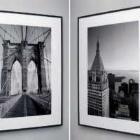 Brooklyn Bridge and 40 Wall Street black and white framed prints by photographer Andrew Prokos at Merchant's House, Tribeca