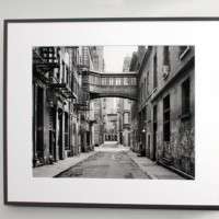 """View of Staple Street, Tribeca"", 20""x30"" black and white photograph by Andrew Prokos at Merchant's House, Tribeca"