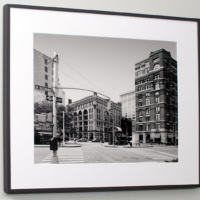 """""""West Broadway Street Scene, Tribeca"""", 20""""x30"""" black and white photograph by Andrew Prokos at Merchant's House"""