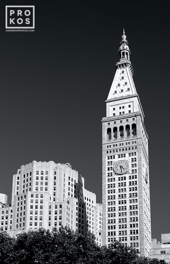 View of the MetLife Building, New York City in black and white.