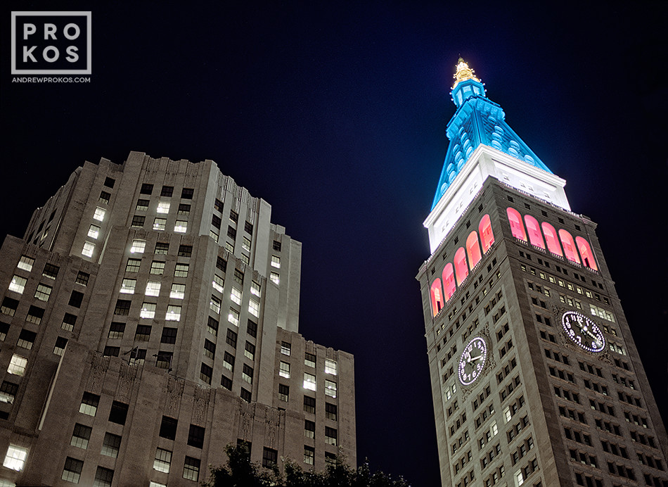 The Met Life Building lighted in red, white and blue at night, New York City