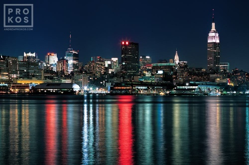 A view of New York City as seen from Hoboken, New Jersey at night