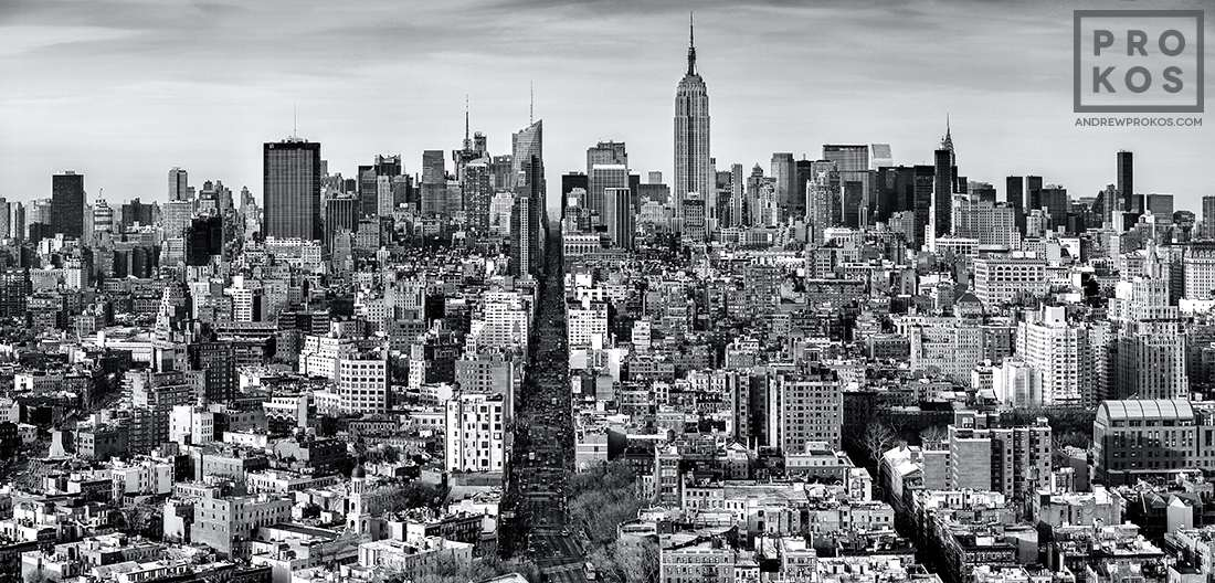 A black and white panoramic view of Midtown Manhattan as seen from Soho, New York City.