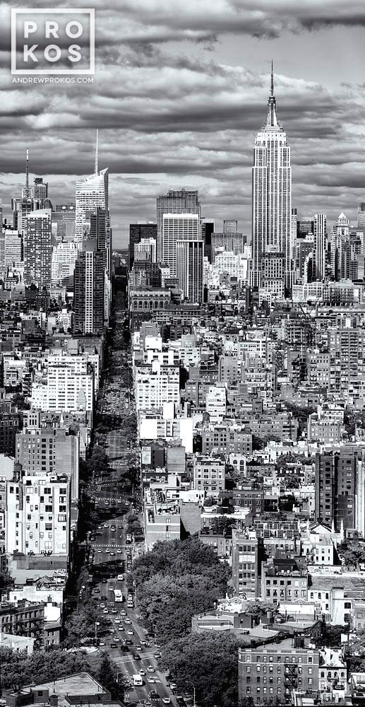A vertical panoramic view of Manhattan from SoHo in black and white.