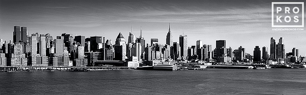 A daytime panorama of Midtown and Lower Manhattan in black and white as seen from New Jersey