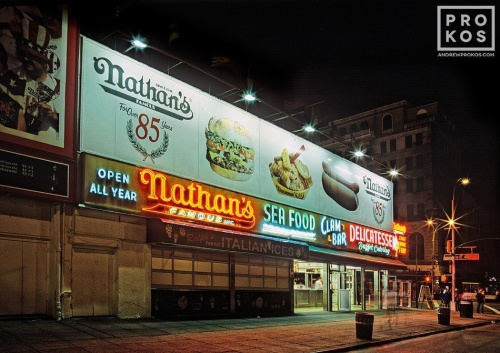 NATHANS AT NIGHT CONEY ISLAND PX