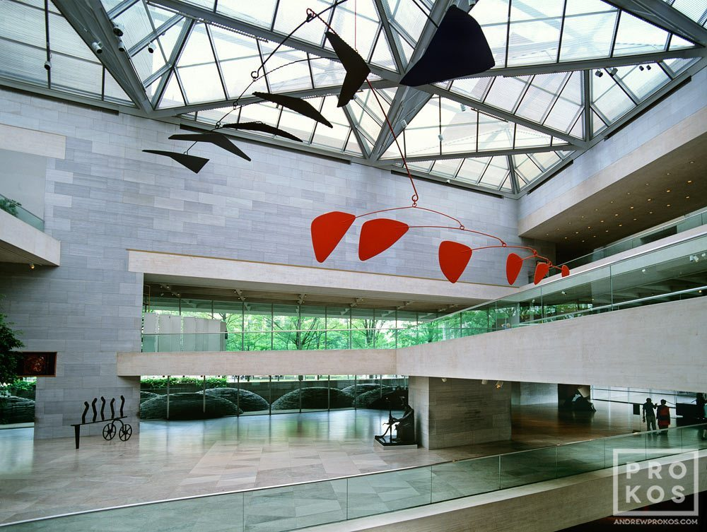 Interior of the National Gallery's East Building with giant suspended Calder mobile, Washington DC