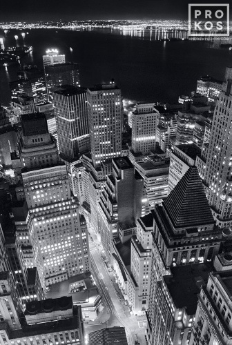 Aerial View of the Financial District and New York Harbor at Night