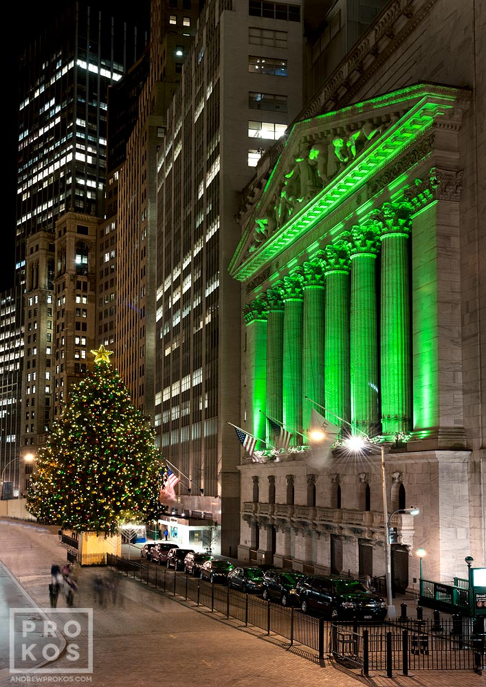 A view of the New York Stock Exchange (NYSE) at night during the Christmas holiday