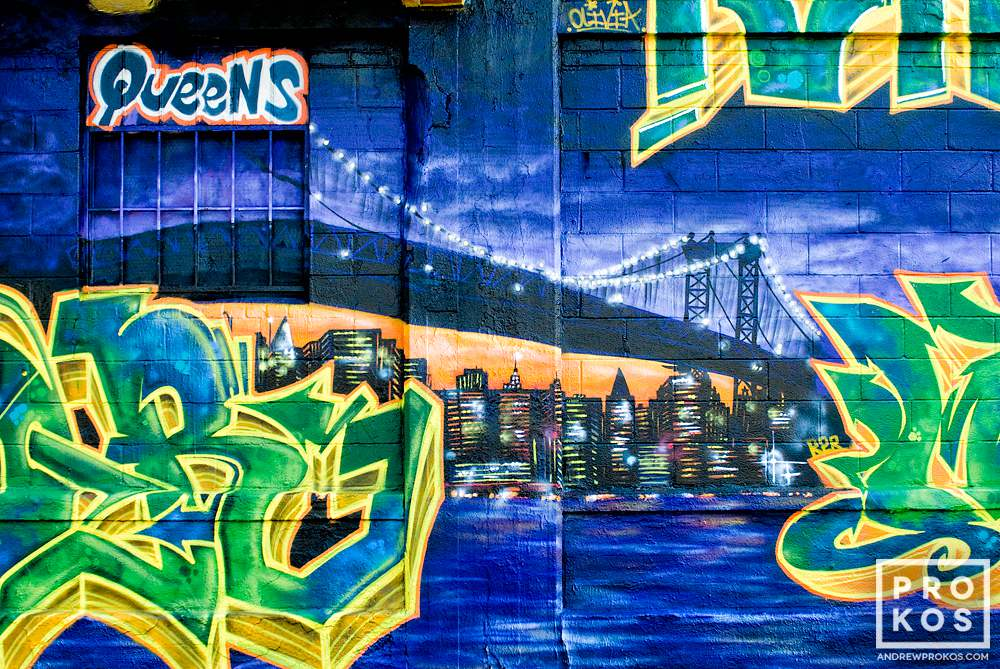 A street mural in Long Island City, Queens depicting the Queensboro bridge
