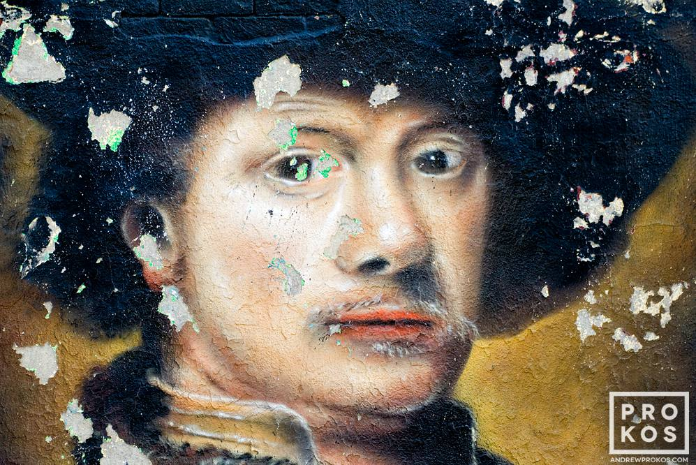 A New York City street mural in the style of the painter Rembrandt