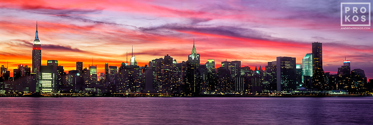 A panorama of New York's skyline as seen from Brooklyn at dusk