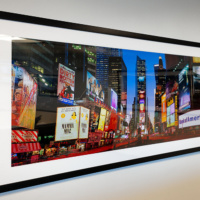 "Panoramic View of Times Square at Dusk, 36""x72"" in the K2 Advisors corporate collection."
