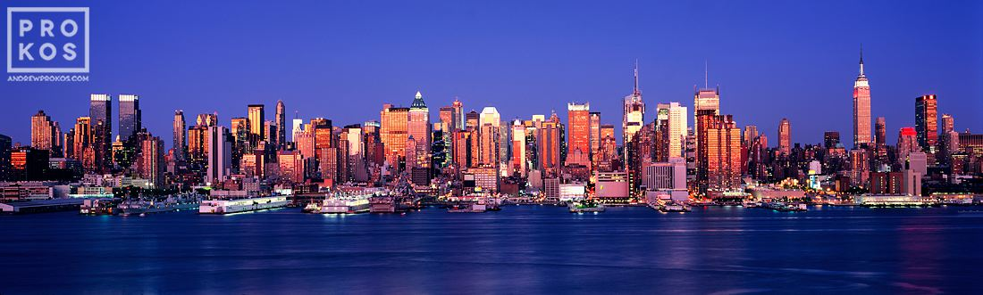 A panorama of the New York skyline as seen from Weehawken, New Jersey at dusk