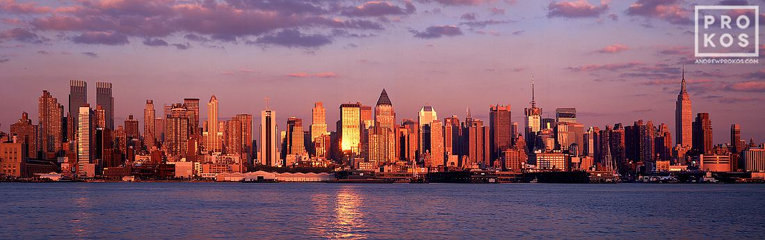 A panorama of the New York skyline as seen from Weehawken, New Jersey at sunset