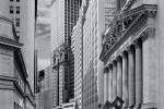 A view of the New York Stock Exchange (NYSE) from Wall Street in black and white