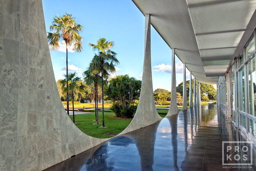 Rear colonnade of the Palacio da Alvorada in Brasilia, Brazil.