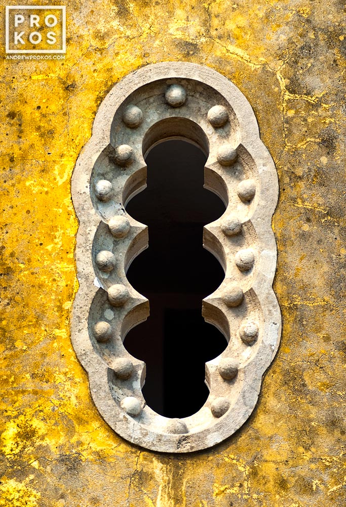 A Gothic-style window from the Palacio da Pena in Sintra, Portugal