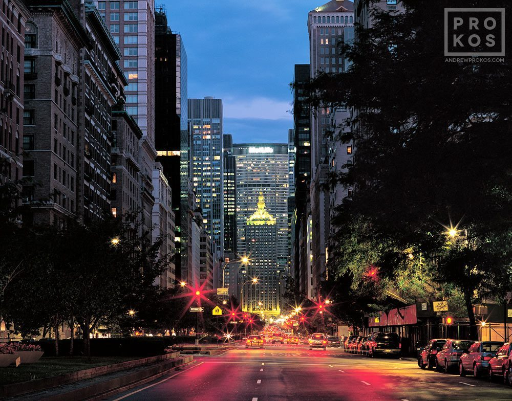 A view of Park Avenue at dusk, New York City