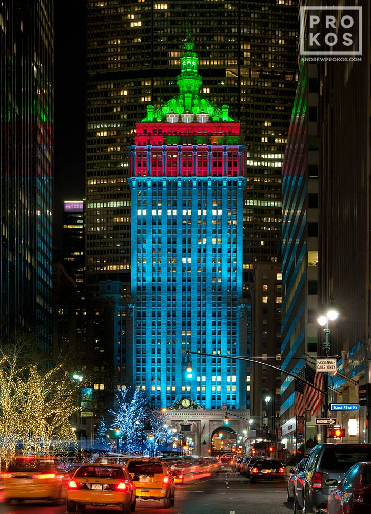 A night view of Park Avenue at and the lighted Helmsley Building at Christmas.