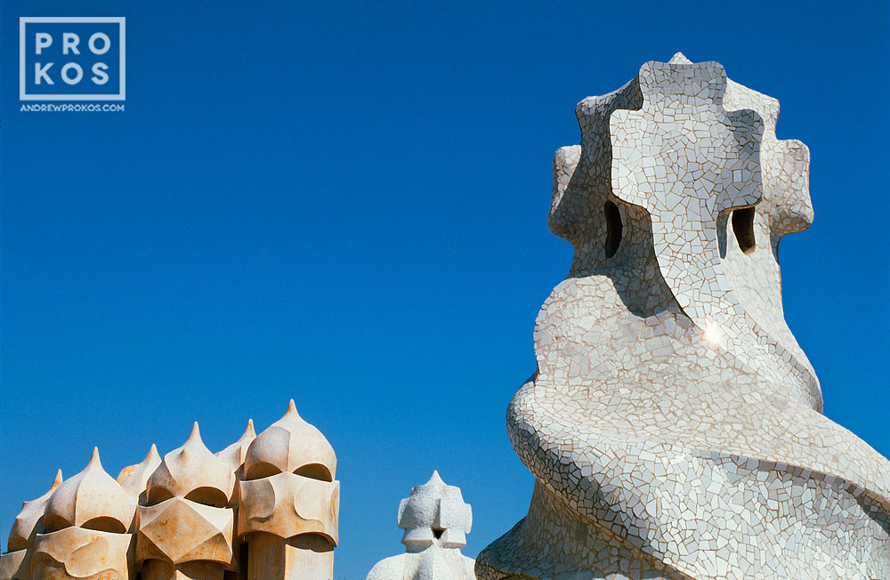Antoni Gaudi's famous modernist chimneys on the rooftop of the Casa Mila (La Pedrera), Barcelona, Spain