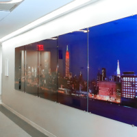 A 20 foot wide gallery-mounted night panorama commissioned by Cisco Systems for the company's New York City office