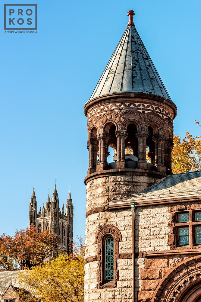 A view of the tower of Alexander Hall and Cleveland Tower at Princeton University in Autumn, New Jersey