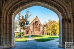 Alexander Hall framed in the arch of Blair Hall on the campus of Princeton University, New Jersey