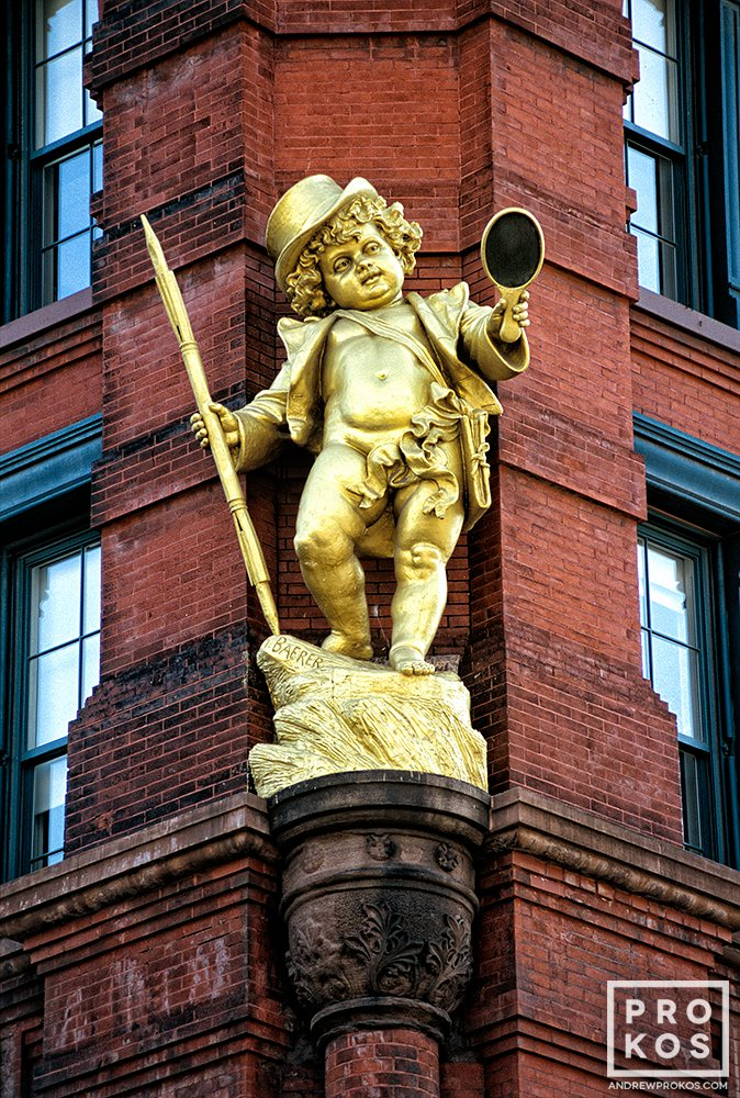 The gilded statue of Puck from the facade of the eponymous Puck Building, downtown New York City
