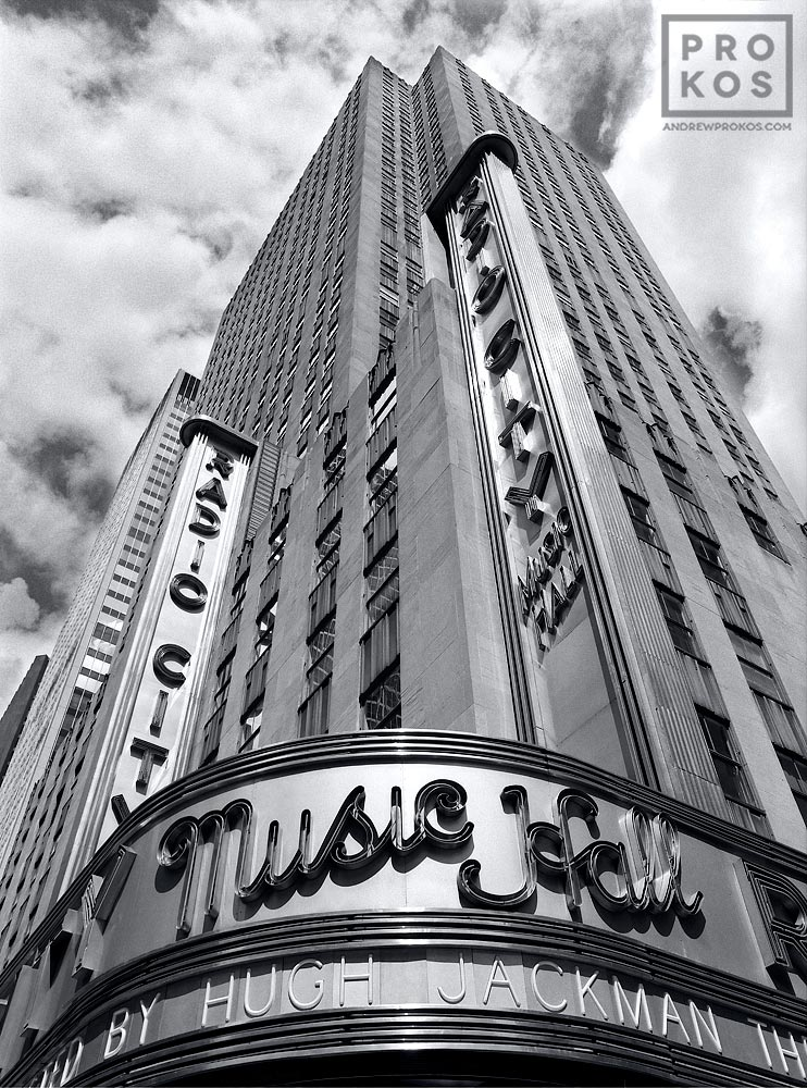 The facade of Radio City Music Hall in black and white, New York City