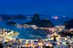 A panoramic view of Botafogo and the Sugarloaf Mount at night, Rio de Janeiro.
