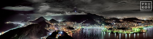 A panoramic view of Rio de Janeiro at night from the Pao de Acucar (Sugarloaf Mountain).