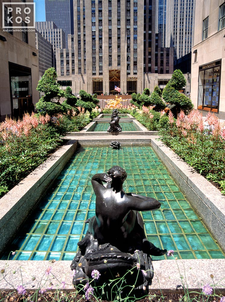 A daytime view of Rockefeller Center Channel Gardens, New York City