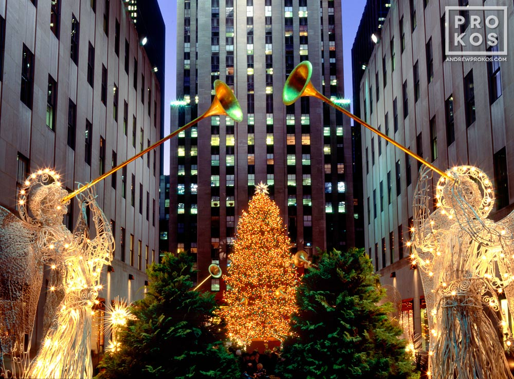 Rockefeller Center's famous lighted Christmas angel decorations, New York City