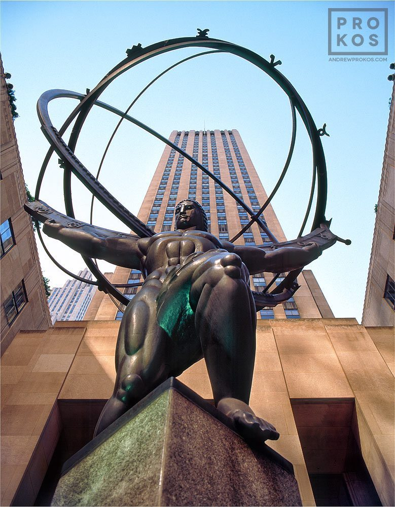 A view of Rockefeller Center's famous Atlas statue during the day, New York City
