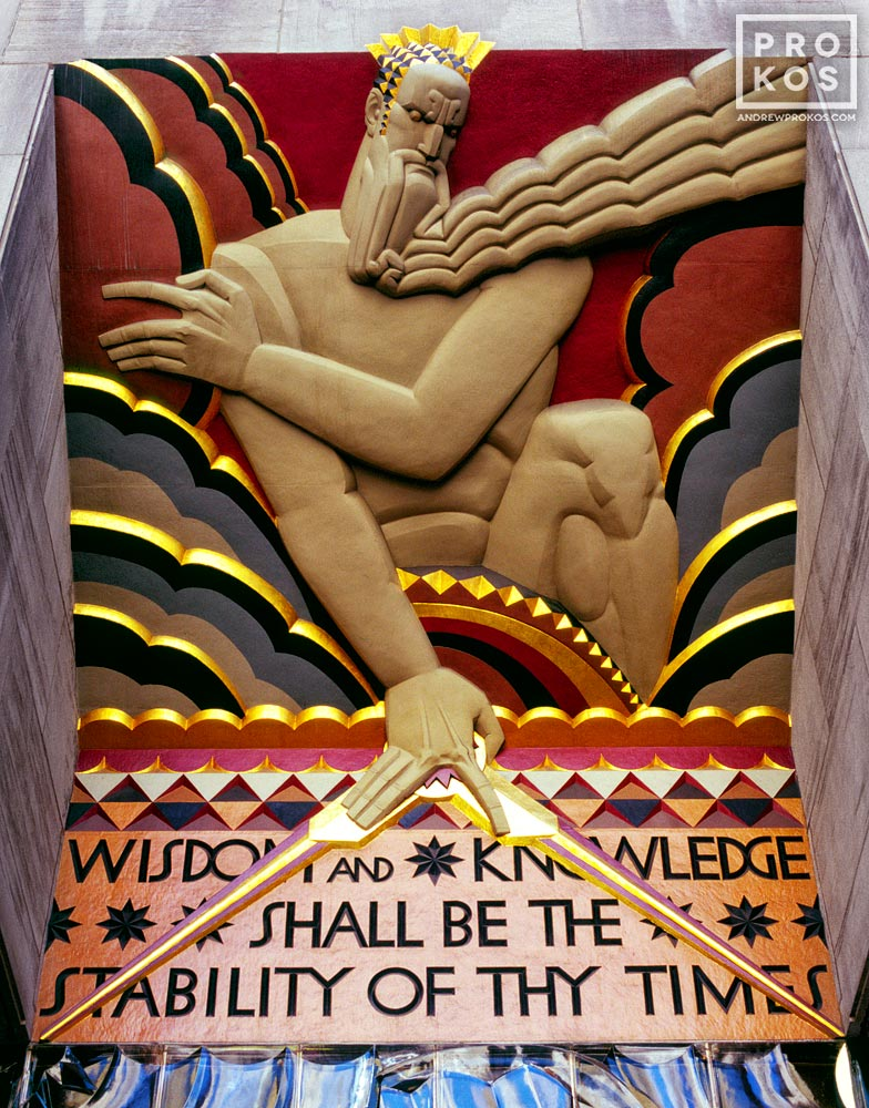 A detail from the art deco Wisdom, Light, and Sound relief above the entrance to 30 Rockefeller Center