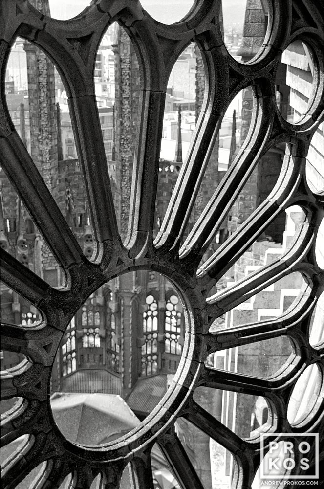 Black and white fine art photo of the rosette window in the Sagrada Familia church in Barcelona.