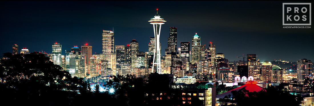 A panoramic skyline of Seattle, Washington at night, available as a large-format fine art print framed in various styles.